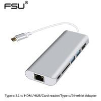 Type-C To HDMI+USB 3.0 Hub+USB-C TF/SD Card Reader Adapter Aluminum USB 3.1  For MacBook Pro Chromebook Pixel