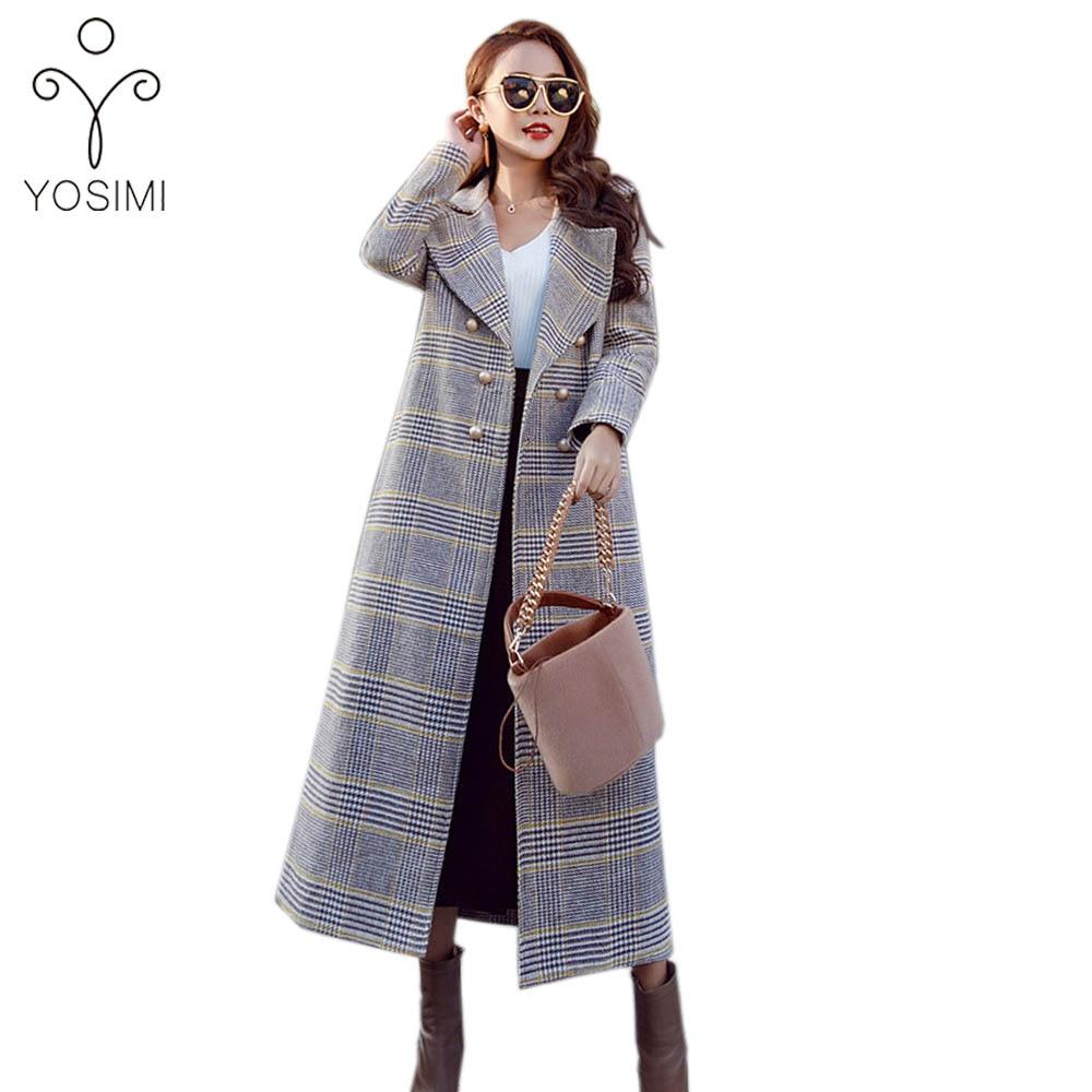 YOSIMI 2018 Herbst Winter Hohe Qualität Maxi Elegante Wolle X Lange Frauen Mantel Plaid Breite taille Woolen Weibliche mantel Marke Kleidung-in Wolle & Mischungen aus Damenbekleidung bei  Gruppe 1