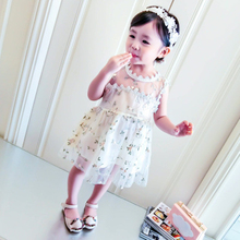 ФОТО girls dress 2018 new summer mesh girl's clothes hollow lace embroidered princess dress children summer dress baby girl clothes