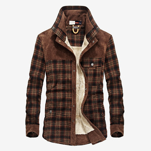 Image 2 - Flannel Shirt Men Winter Plaid Military Fleece Shirt Thick Warm Brand Long Sleeve Cotton Quality Loose Dress Shirt Dropshipping