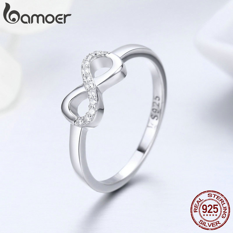 BISAER Sale 100% 925 Sterling Silver Infinite Love Forever Infinity Female Rings for Women Engagement Jewelry Anel S925 ECR332