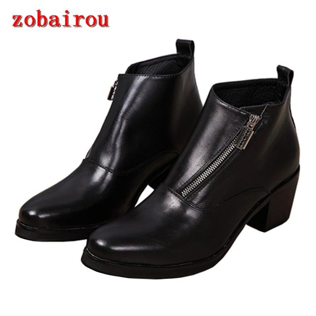 253f1a559e3c Новая мужская обувь кожаные ботильоны Мужская итальянская обувь мужская  обувь круглый носок высокий толстый каблук черный