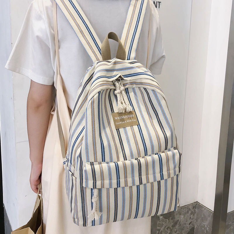 Female Canvas Plaid Backpack Student Women School Bag Girl Striped Cute Backpacks Kawaii Streak Ladies Harajuku Bag Book Teenage