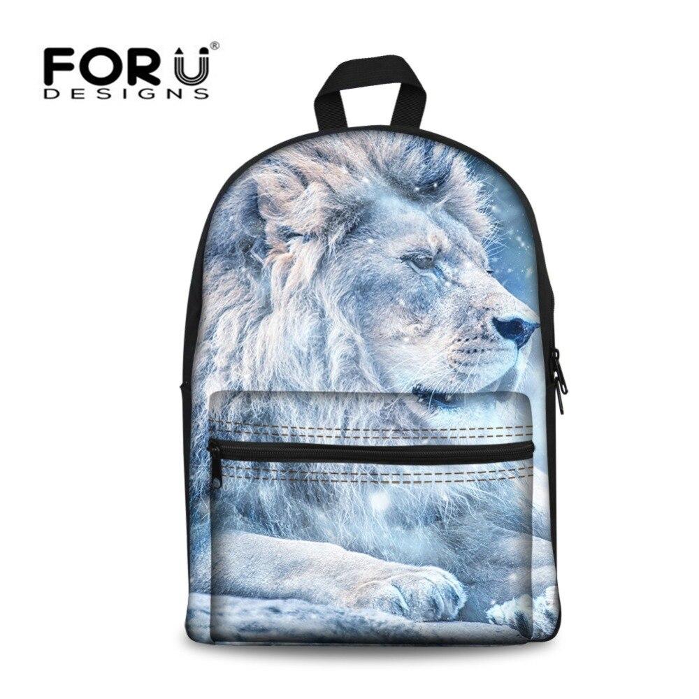 FORUDESIGNS Lion Cool Schoolbag Stylish Book Bags for Teenager Boys Girls High Capacity Shoulder Bag Animals Back Pack Knapsacks