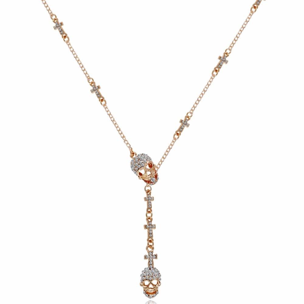 Tassina Maxi Daya Kristal Tiga kerangka tengkorak Panjang Hip Hop Choker kalung untuk wanita Fashion Jewelry Aksesoris neckless