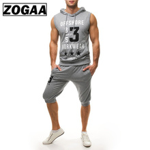 Plus Size S-3XL Ropa De Hombre 2018 ZOGAA Fashion Men Sets Sleeveless Tops and Pants Zipper Hooded Sleeveless Sweatshirt