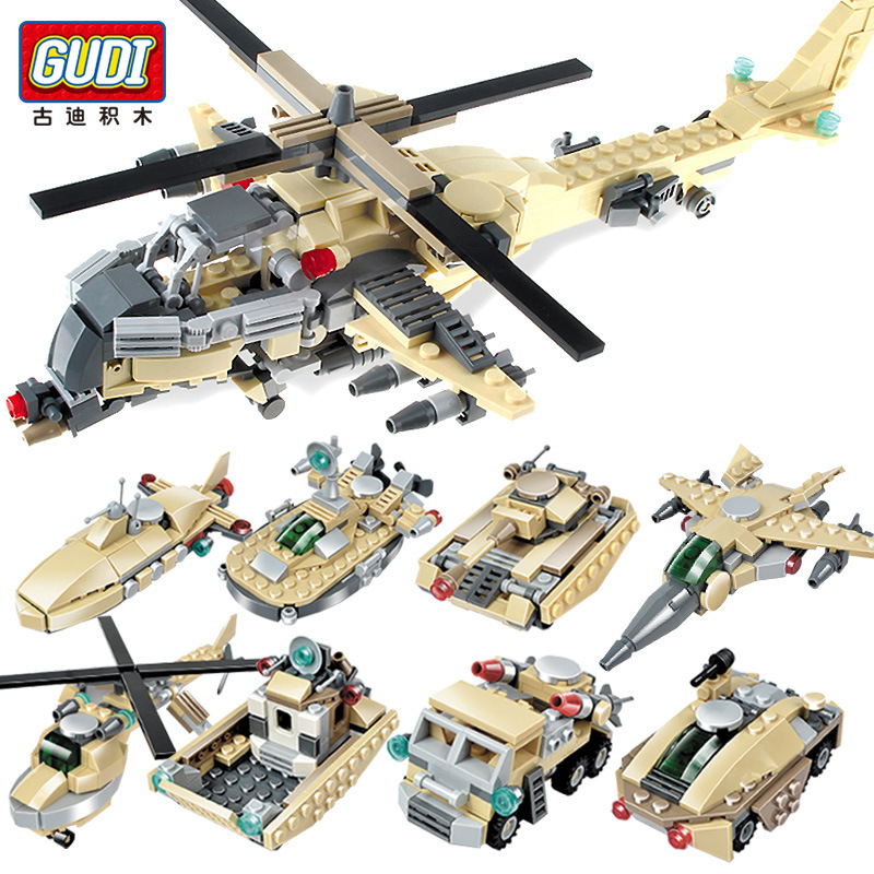 GUDI 8in1 Military Helicopter Tank Armored Vehicle Building Blocks DIY Armed Force Toys Compatible Legoings Gifts For Children