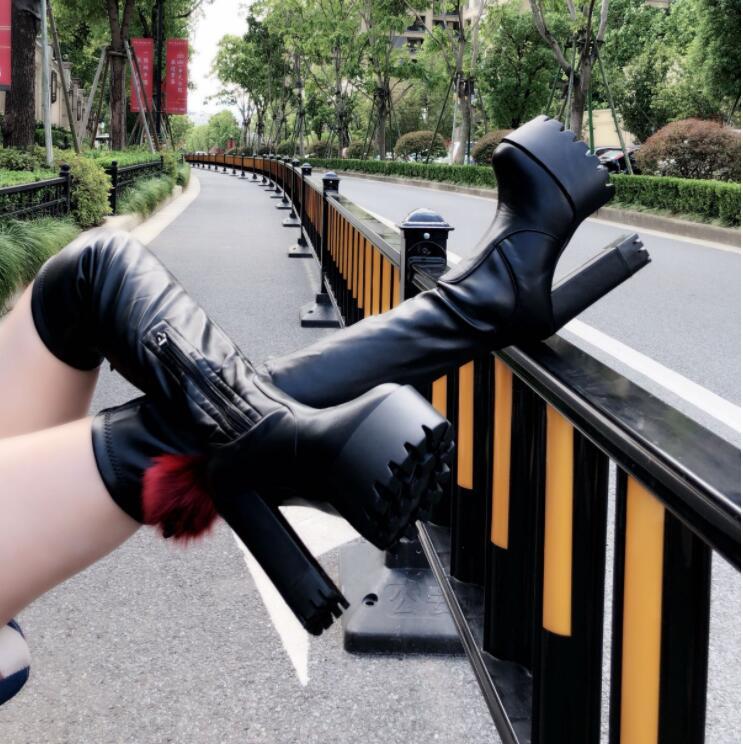 2018 Coreano Tacón Cabeza Otoño 2 La Botas Invierno Alto Nuevo De Por E Elásticas Rodilla 1 Redonda Mujer Adelgaza SOqS4wFr
