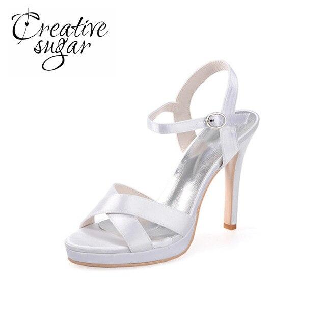 JE shoes Damen Sandalen Satin High Heel Band 8cm