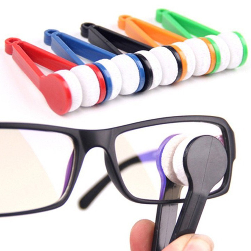 2 PCS Mini Sun Glasses Eyeglass Microfiber Brush Sun Glasses Glass Cleaner Cleaning Spectacles Tool Clean Brush