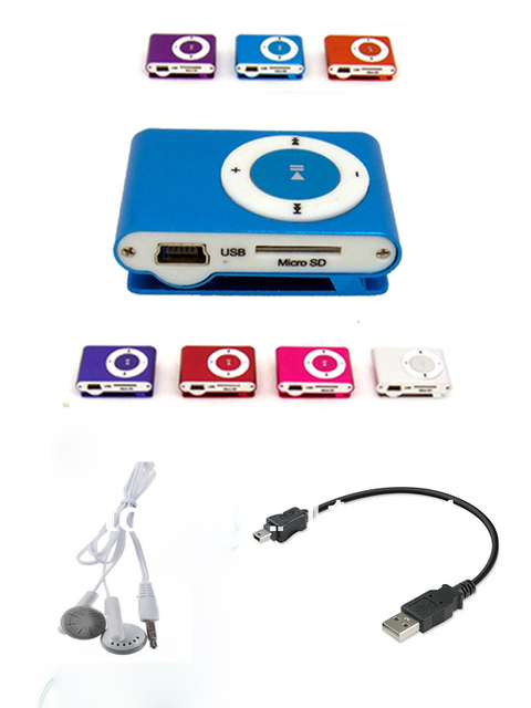 DropShipping New Mini Clip MP3 Player+earphone+cable