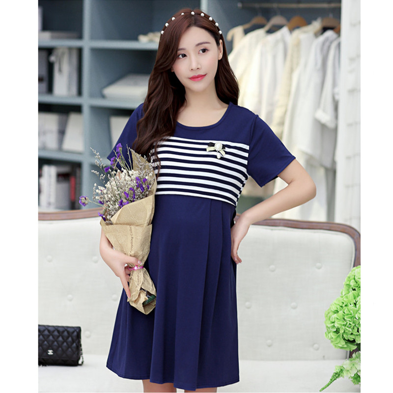 Soft Spacewadding Maternity Dresses Causual Breastfeeding Clothes for Pregnant Women Korean Nursing Pregnancy Clothing B0395