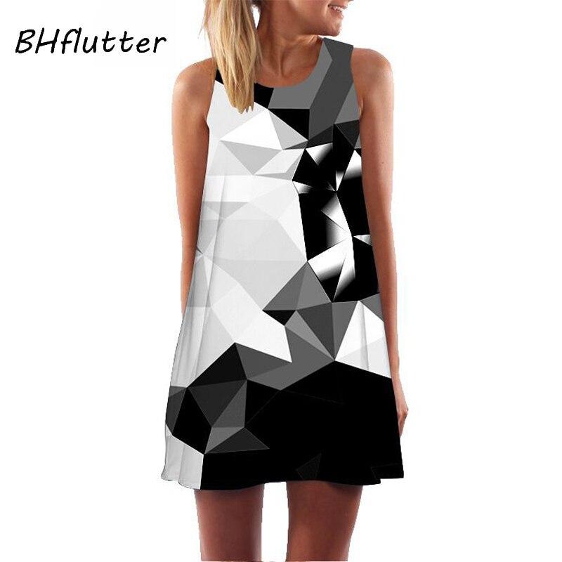 BHflutter Brief Geometric Print Summer Dress 2019 New Style Sleeveless Casual Chiffon Dress For Women A Line Cute Mini Dresses