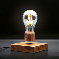 ICOCO Wood Magnetic Levitating Lamp Night Light Floating Wireless Bulb Lamp Room Decor Home Office Desk