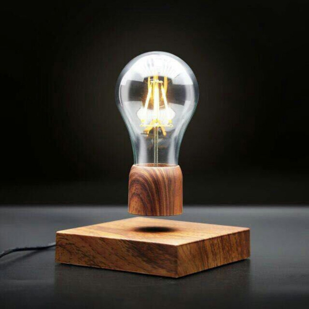 ICOCO Wood Magnetic Levitating lamp Night Light Floating Wireless Bulb Lamp Room Decor  Home Office Desk Tech Toys 12V novelty magnetic floating lighting bulb night light wood color base led lamp home decoration for living room bedroom desk lamp