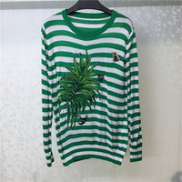 Striped Sweater for Women Long Sleeve With Embroidery High Quality Fashion Autumn Pullovers 2018 New Women Sweater
