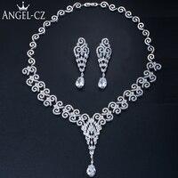 ANGELCZ Luxury Wedding Jewellery Sets High Quality Cubic Zirconia Nigerian Tear Drop Big Bridal Jewelry Necklace Earrings AJ158