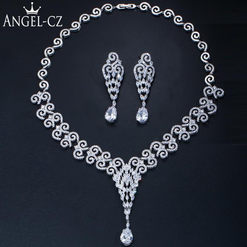 ANGELCZ luxe mariage bijoux ensembles de haute qualité cubique zircone nigérian larme goutte grand mariée bijoux collier boucles d'oreilles AJ158
