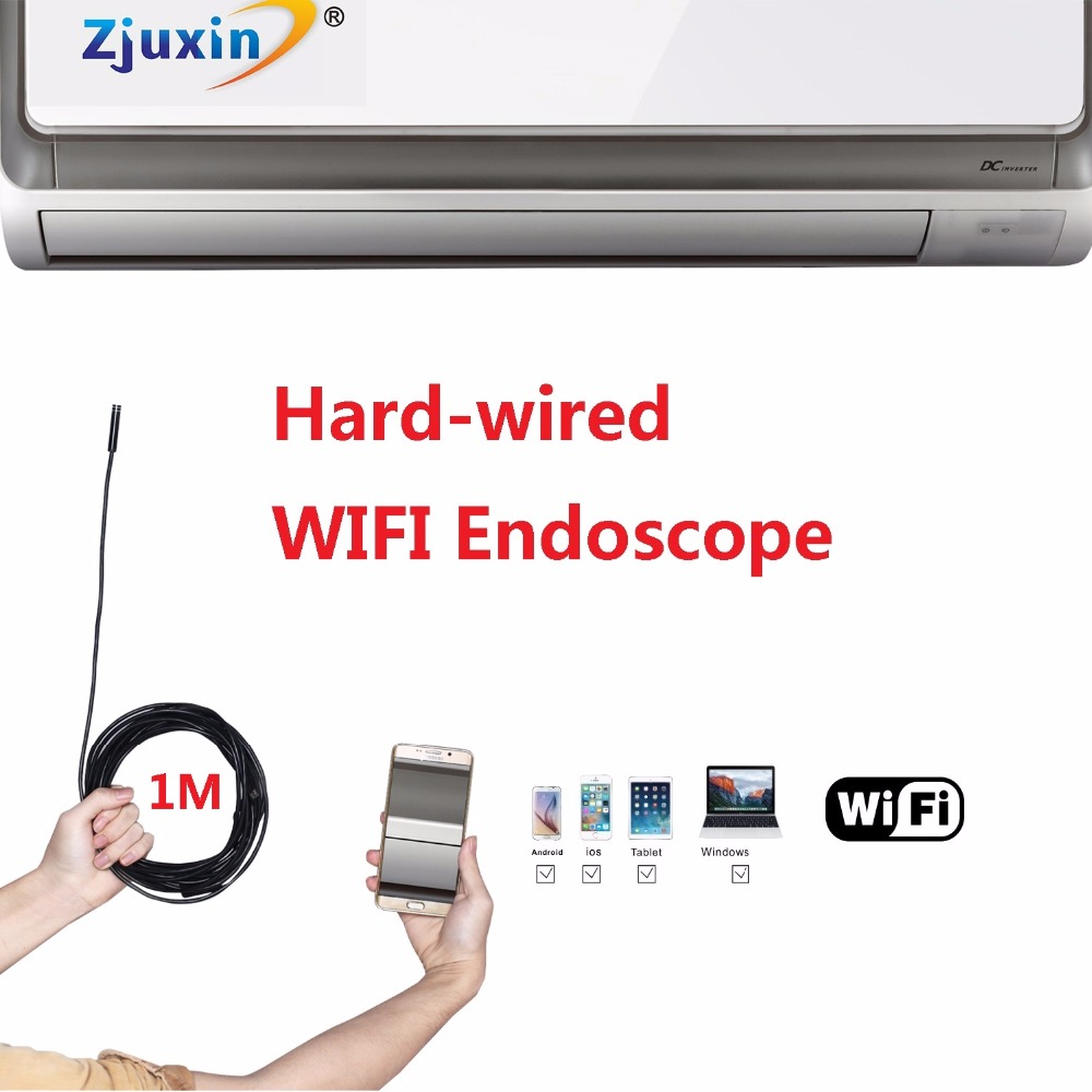 1M WIFI HARD-WIRED Endoscope New Camera 8mm HD Lens USB Iphone Android IOS Tablet Wireless Borescope waterproof endoscope wifi 3 5m wifi endoscope new camera 8mm hd lens usb iphone android endoscope tablet wireless endoscope wifi softwire