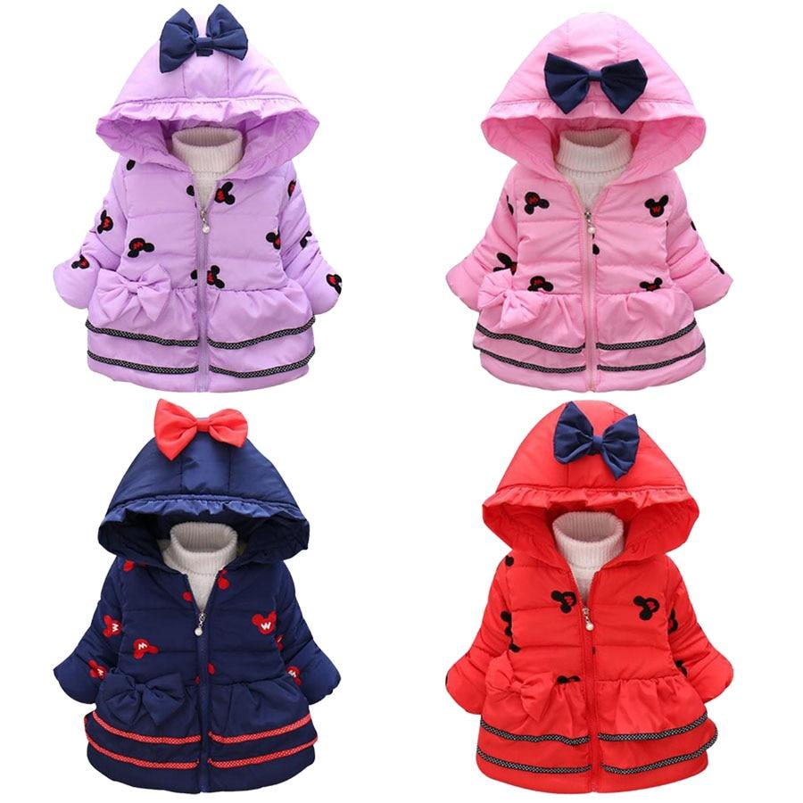 2016 New baby girls Minnie Jackets Children Lovely winter Cartoon warmed Coat Children thick cotton hooded Outerwear цена 2017