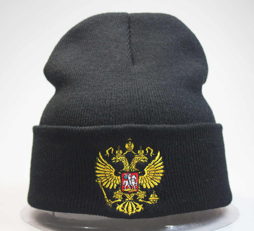 ecc6cbec259 Russian Emblem Badge Double Head Eagle Hat Cap Hat Winter Warm Beanie Hip  Hop Embroidered Dustin