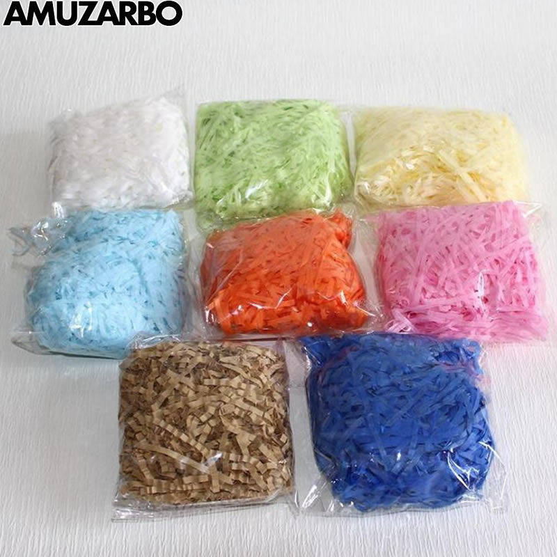 8 Colors Available Raffia Gift Box Decoration Filler Conventional Paper Strip For Wedding Party Cut Paper No Packing Gift Bag