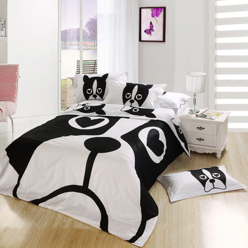 Black and white dog print bedding set bedroom queen full for Full bed bedroom sets