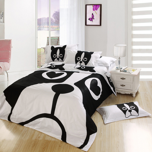 Black and White Dog print Bedding set bedroom Queen full size bedspread bed in a bag sheet sheets duvet cover Kids Cartoon 4PCS