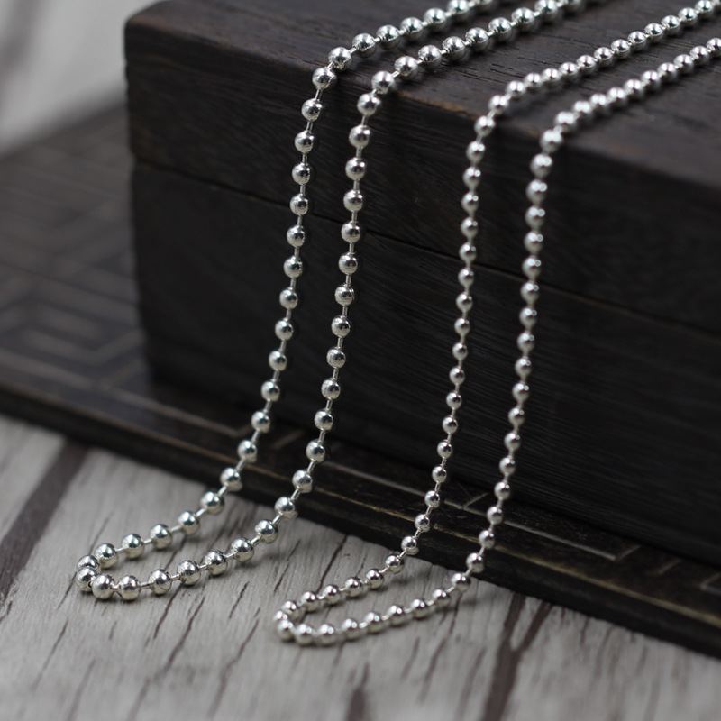 L&P 3mm bead ball chain Necklace 100% 925 Sterling Silver Necklace For Women Men Diy Fittings High Quality bead chain fashionable women s bead designed ellipse sweater chain necklace