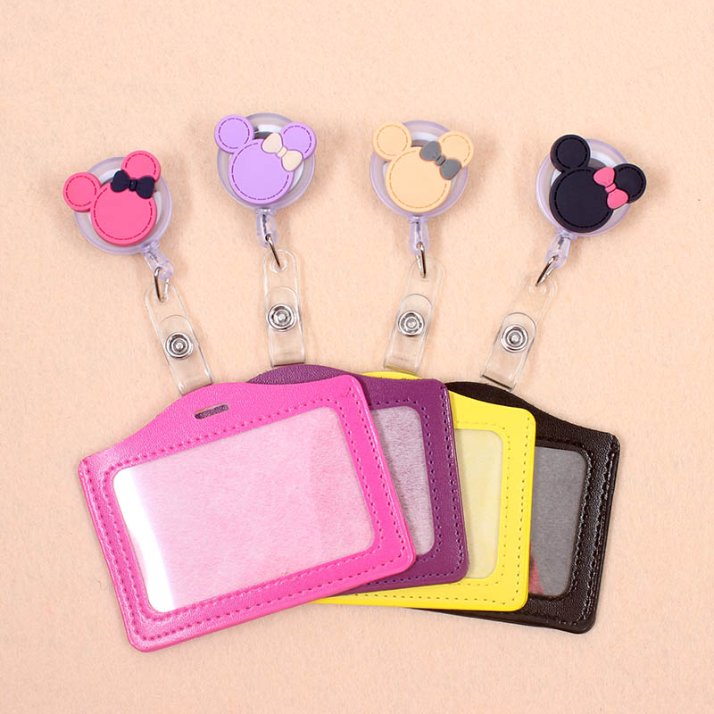 Cute Mickey Bowknot Silicone Badge Scroll Nurse Office Reel Character Scalable Student Exhibition Business Card Badge Holder