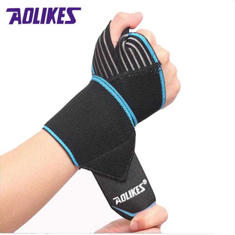 Prix pour AOLIKES 2 Pcs/lot Bandes De Poignet de Sport Support de Poignet Bracelet Wraps Main Entorse Récupération Bracelet Pour Vélo Tennis Gym Accessoires