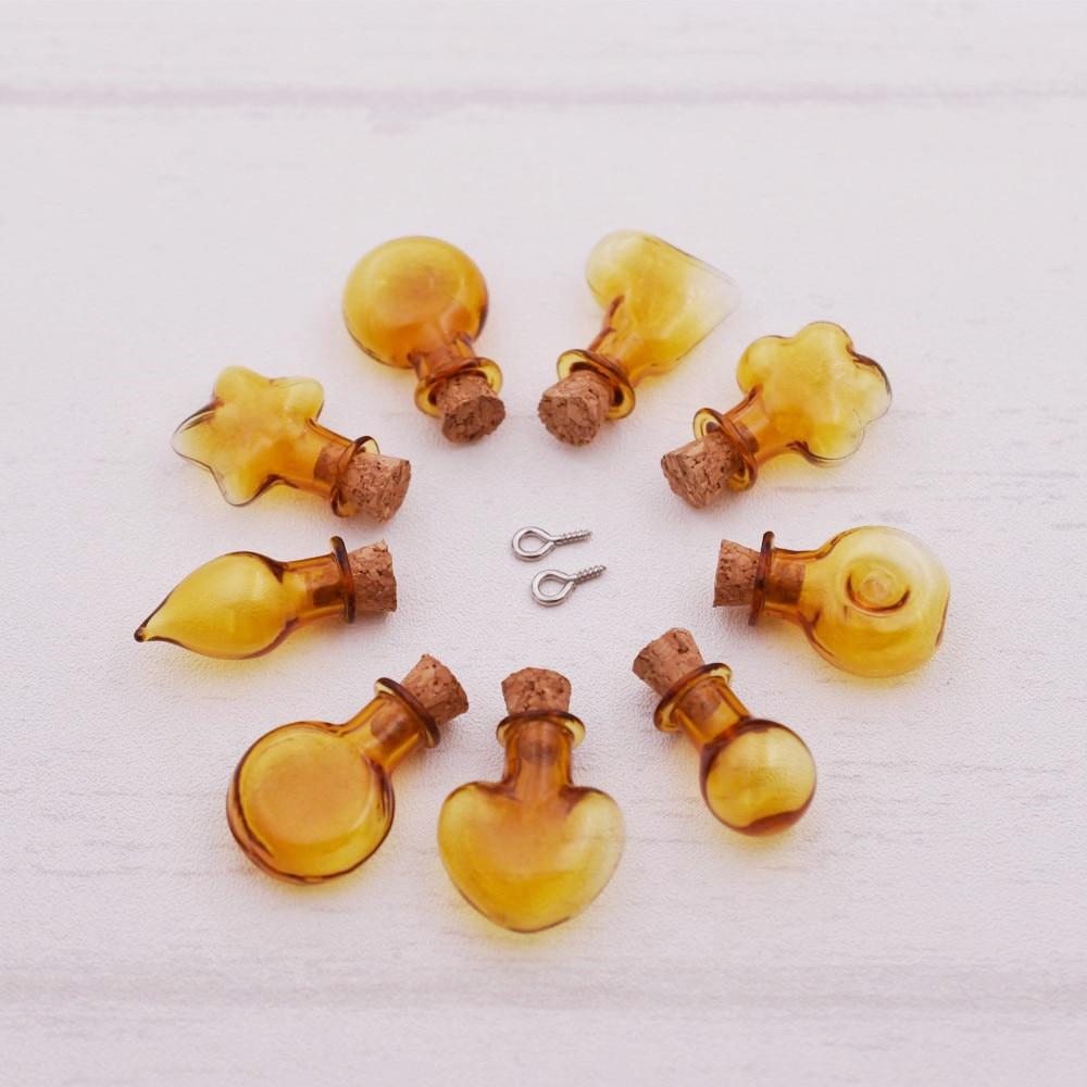 20 шт./лот коричневый цвет стеклянная бутылка с пробкой эфирное масло флакон Популярные стеклянный шар кулон ожерелье DIY ювелирных изделий