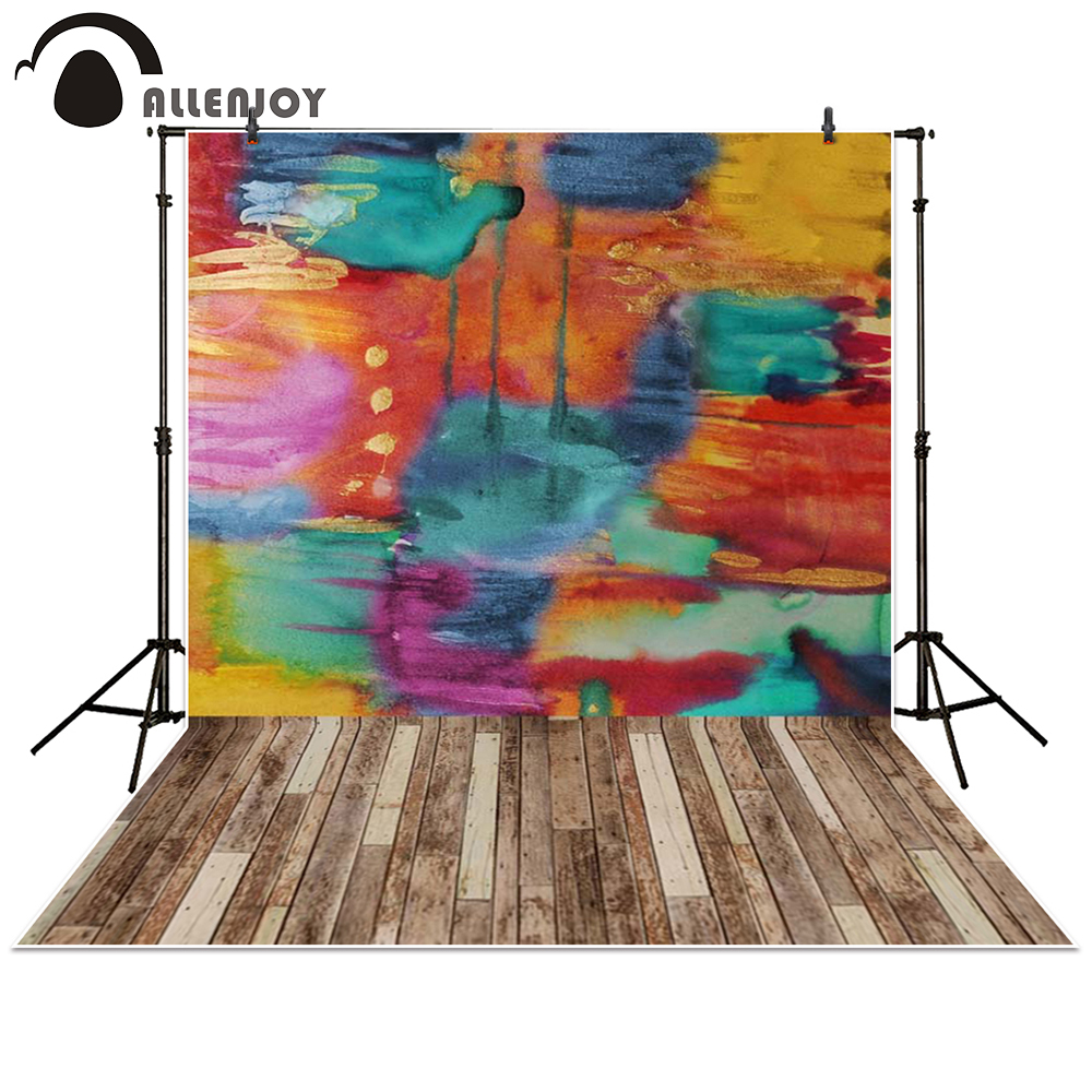 Allenjoy photography backdrop Wood watercolor Graffiti colorful baby shower children background photo studio photocall allenjoy photography backdrop library books student child newborn photo studio photocall background original design