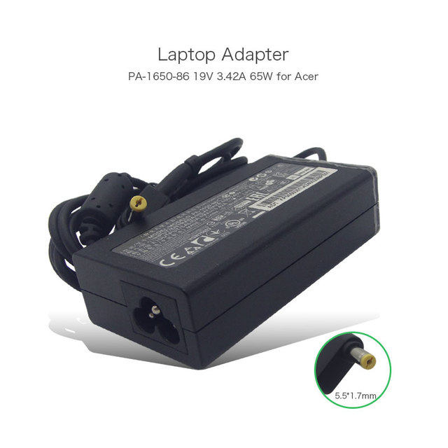 19 В 3.42A 65 Вт Ноутбук Адаптер для Acer Aspire 4810-4439 PA-1650-86 AP.06501.005 AP.06503.003 AP.06503.006 SADP-65KB D ЗАРЯДНОЕ Устройство