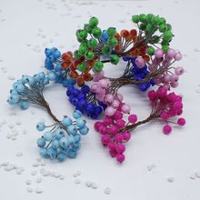 20 unids / 40 head Mini Fake Fruit Berries Glass Pomegranate Red Cherry Artificial Christmas Stamen Branch Decorative Double Hea