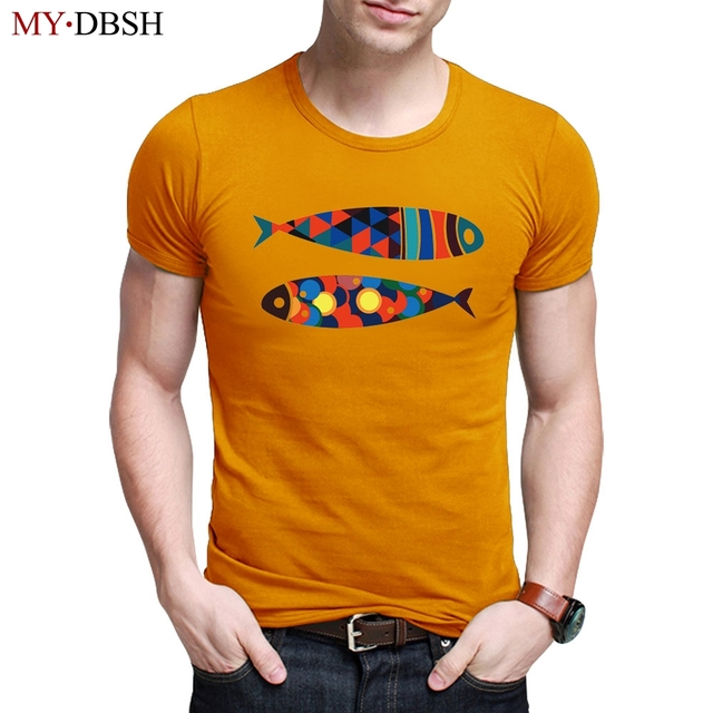 e5dbe978ce3 Funny Fish Print T-shirts Men Round Neck Elastic Cotton Tops Tee Casual  Mens Clothing Fitness Summer Style Short Sleeve T shirts