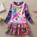 Niños ropa nueva 2016 del vestido de bebé de dibujos animados mi Pony Girls Clothes Girl Dress vestidos manga larga para las niñas vestido