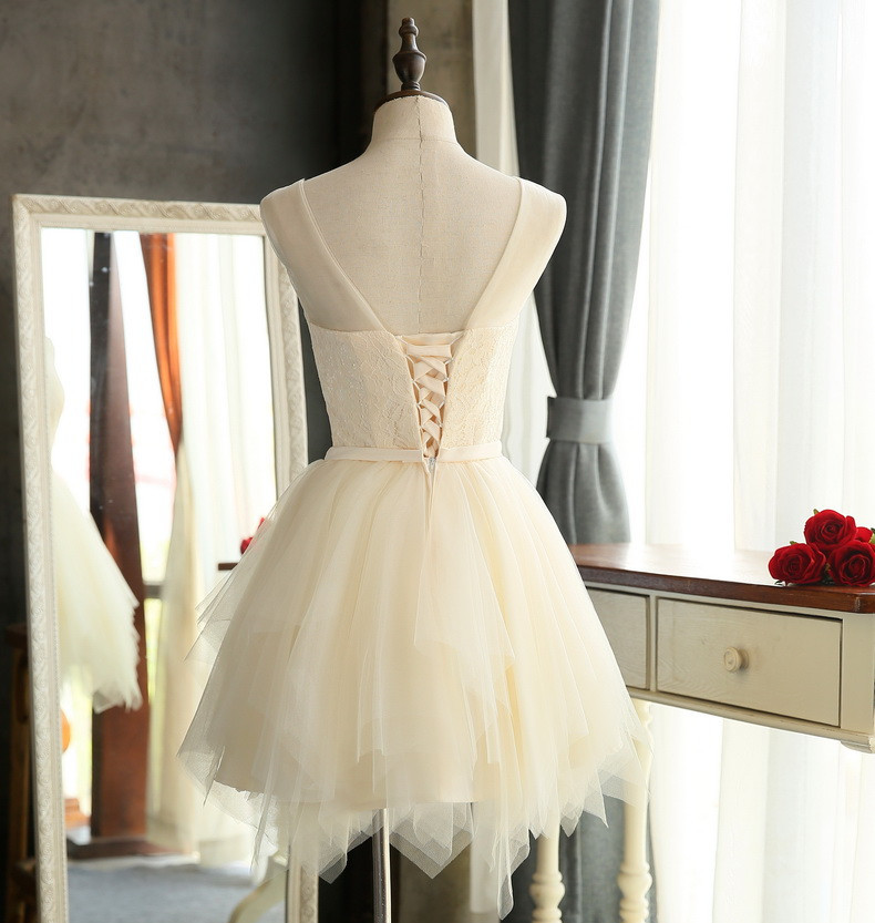 Quality bridesmaid dresses 2016 New Sweet Lace wedding Party special occasion dresses White Red Champagne Short porm dresses 5