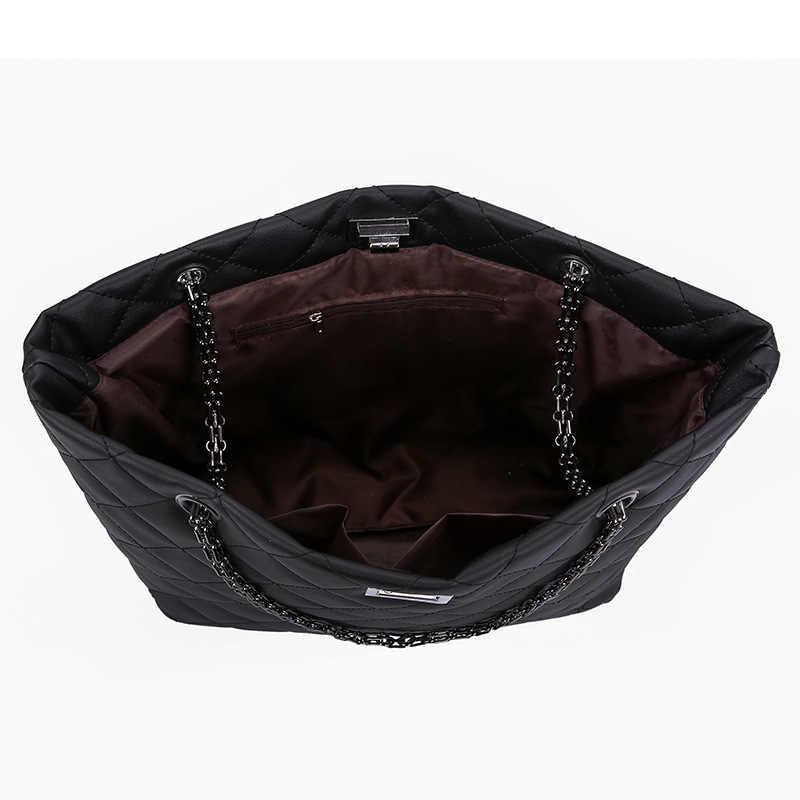 Роскошные брендовые клетчатые сумки через плечо для женщин 2019 Большие женские сумки дизайнерские черные кожаные сумки через плечо женская сумка на плечо