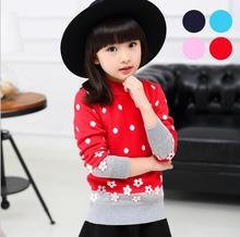 Pullover  knitted Sweater Long sleeve thickening double layer Girl Costume Cotton Casual O-Neck Clothing Printted Floral S074