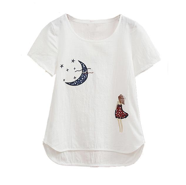 bf5f02484 Blusas de linho de algodão verão 2018 encabeça mulheres bordado esquilo Blusa  feminino short manga o pescoço pulôver branco Blusas em Blusas & Camisas de  ...