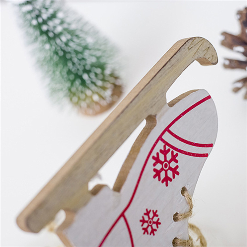 1pc Christmas Tree Ornament Xmas Hanging Pendant Snowfake Pattern Wooden Sleds Boots Christmas Navidad Decor For Home Random Buy One Give One Diamond