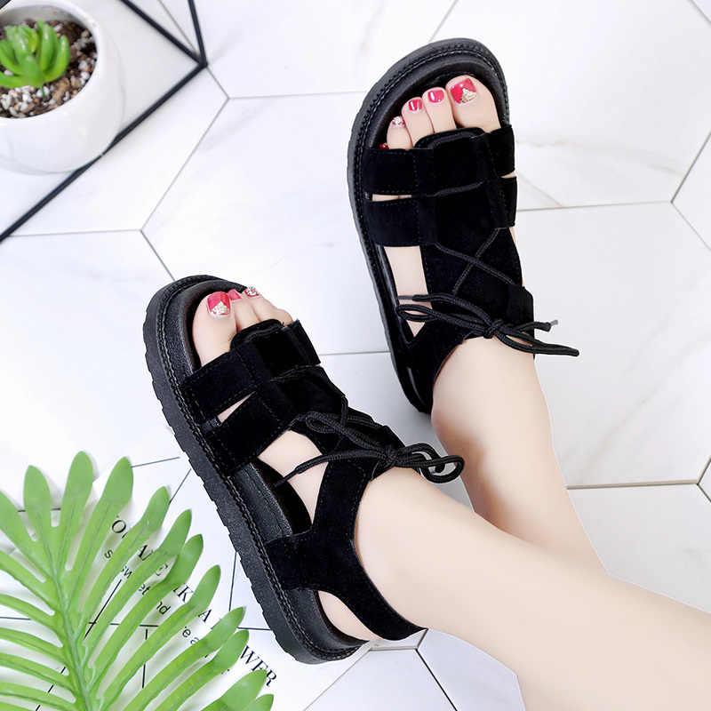2019 sommer Schuhe Frauen Sandalen Spitze Up Sandale Casual Schuhe Plattform Sandale Faux Wildleder alias mujer Damen Fischer A7490