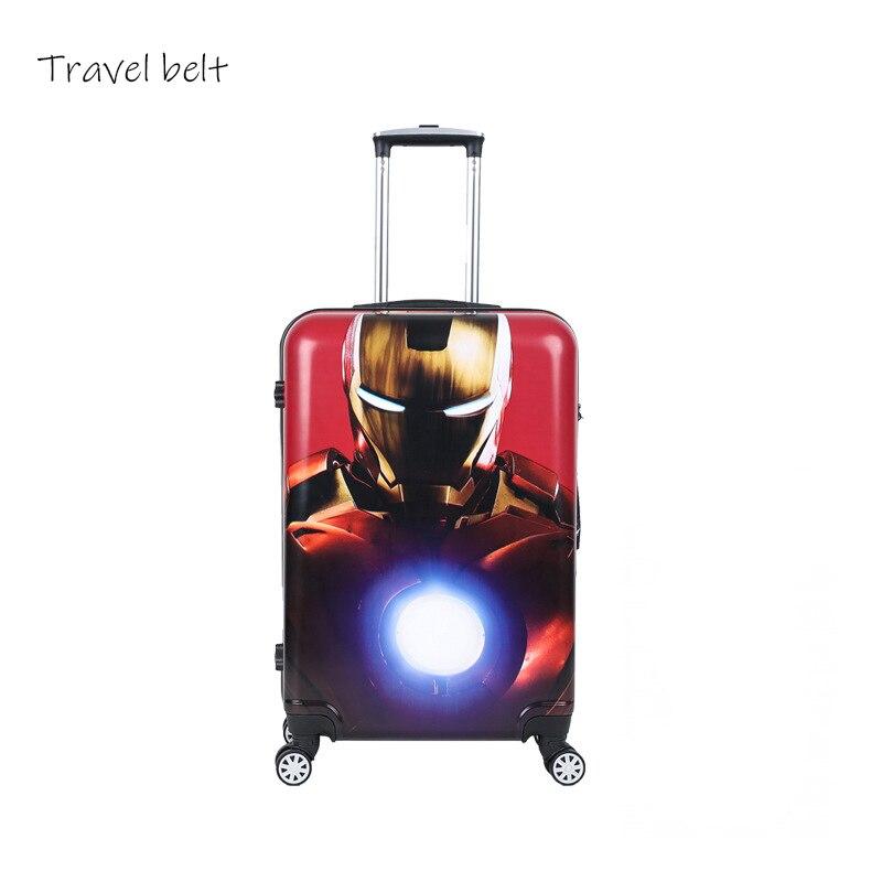 Travel Belt Superhero cartoon high quality PC Rolling Luggage Child travel essentials Suitcase
