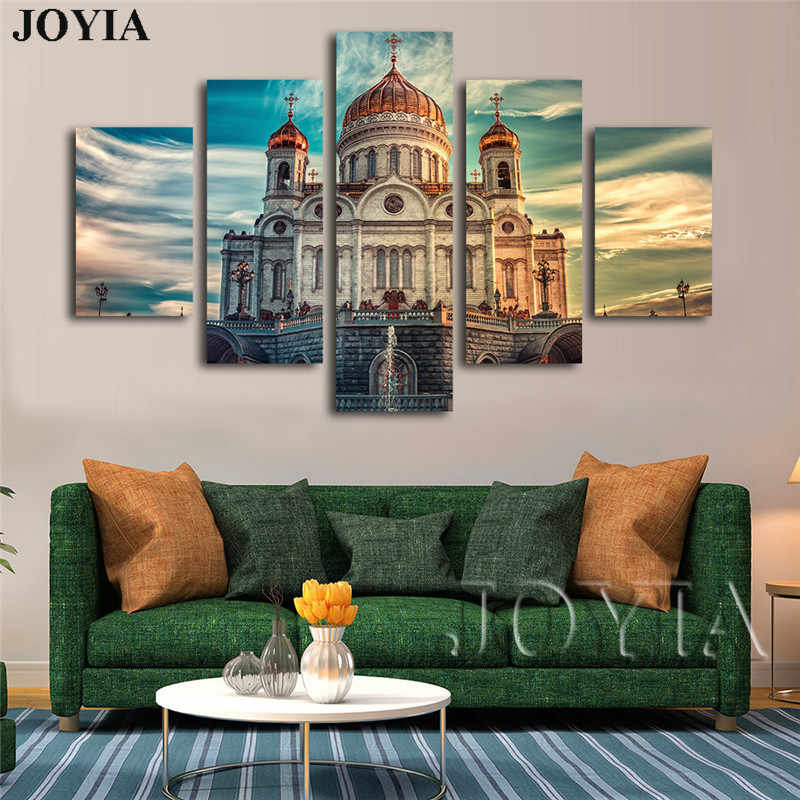 Modern Wall Art Pictures Orthodox Church Paintings Canvas Prints Landscape Skyline Wall Decor Posters 5 Pieces/Set No Frame