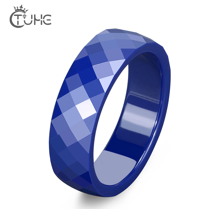 4mm 6mm Cut Surface Blue Ceramic Rings Pretty Never Fade