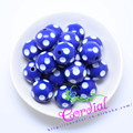 Free Shipping 100PCS/Lot Royal Blue 20MM Resin Polka Dot Beads, Resin Round Chunky Beads for Chunky Necklace Jewelry