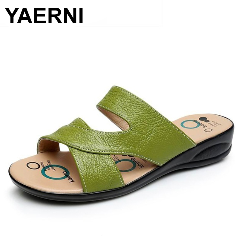 YANERNI Women Slipper Shoes Genuine Leather Slide Shoes Ladies Outside Flip Flops Women Sandals Women Summer Shoes Big Size 2016 soild women flip flops for summer outside slipper with cheap price and high quality for surprise gift xf 090