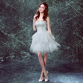 Pretty Feather Ruffles Tiered Cockail Dresses Feather Strapless Knee Length Vestido Curto Fashion Prom Gowns Party Dress
