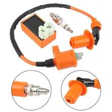 Зажигание для мото комплект 1 шт. гоночный CDI+ свечи зажигания+ катушка зажигания Наборы для GY6 50/125/150CC 4-тактный скутер Запчасти